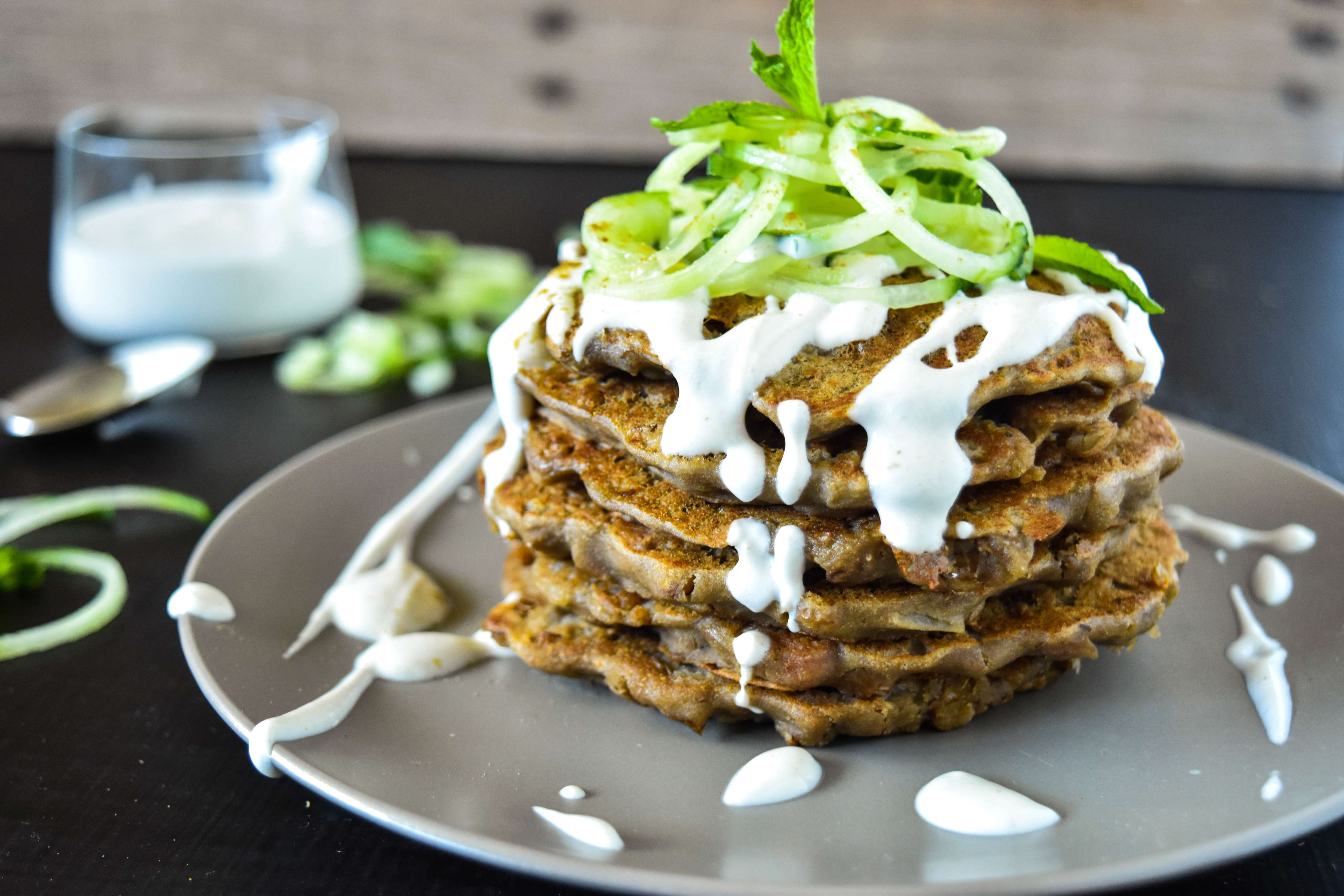 Protein Pancakes with Tahini Yoghurt Dressing