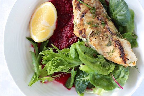 The Fit Foodies Fennel Salted Snapper With Beetroot Puree