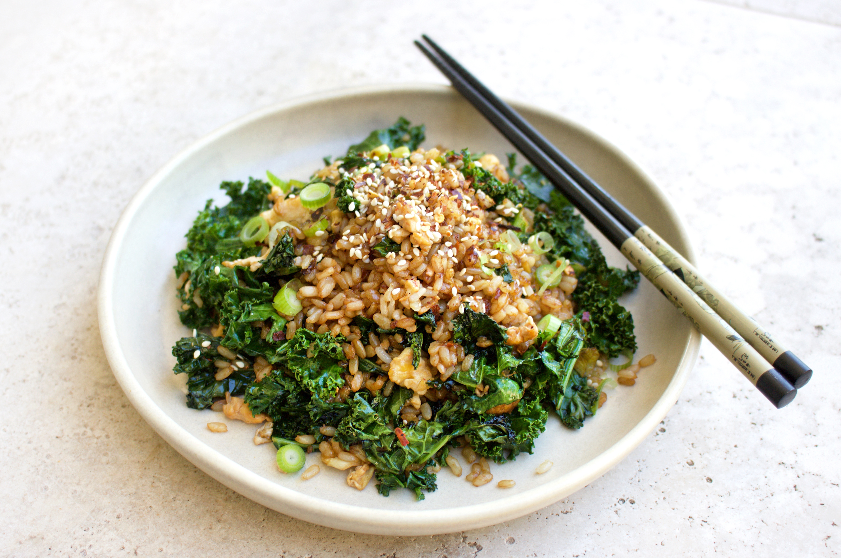 Healthy Fried Rice with Kale, Garlic & Chilli