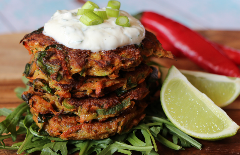 Spiced vegetable fritters w/ zesty yoghurt