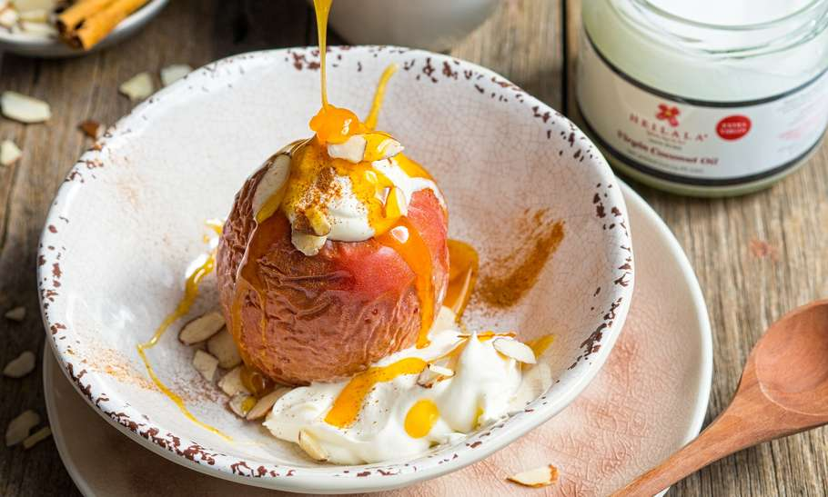 Vegan Baked Apple with Caramel Sauce