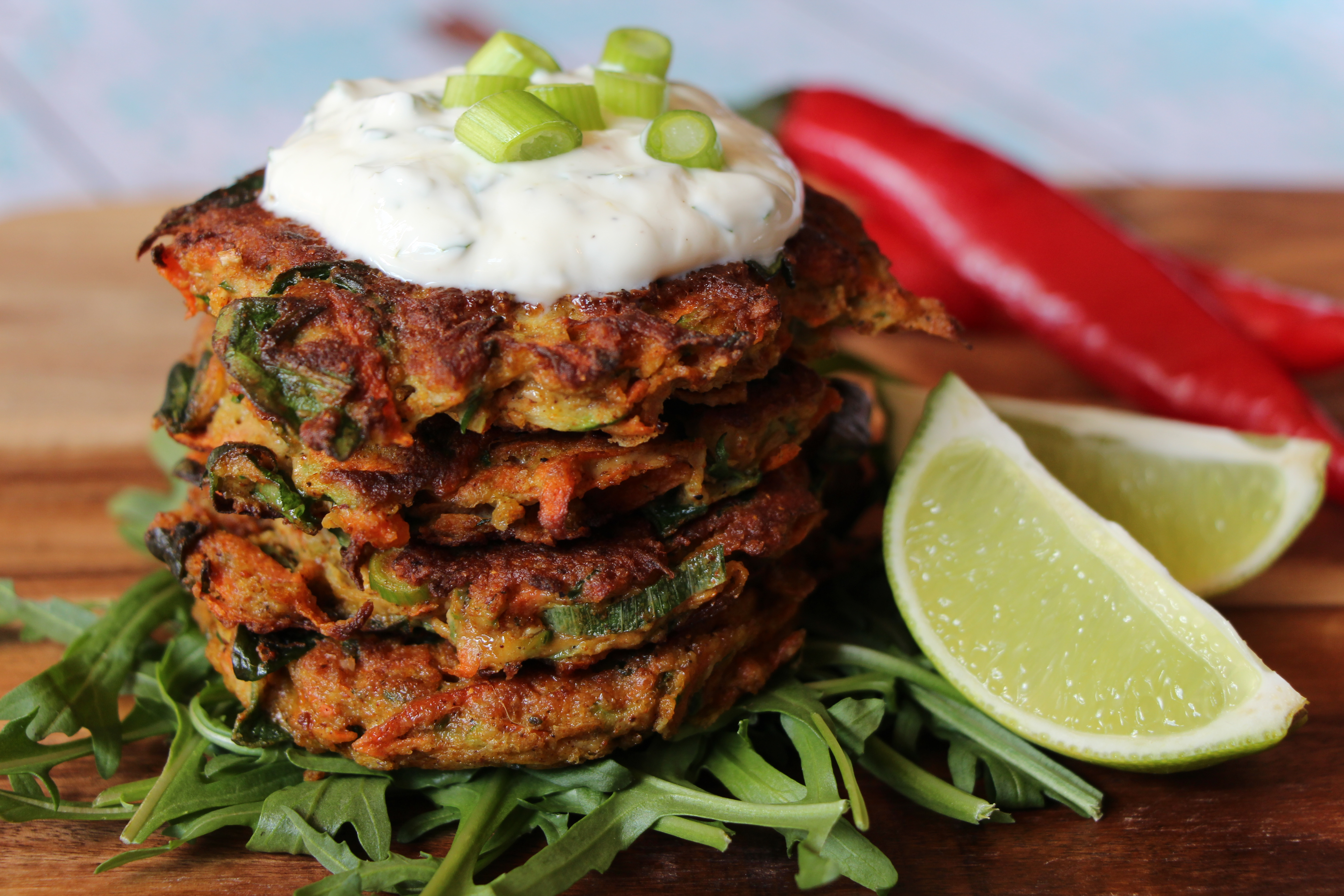 Spiced Vegetable Fritters with Zesty Yoghurt