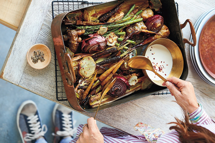 Prebiotic Tray Bake With Tahini Drizzle